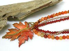 Orange Beaded Necklace, Gemstone Necklace for Women, Short Necklace, Multi Strand Necklace, Handcrafted Jewelry, Copper Necklace #handcrafted #jewelry #blondepeachjewelry
