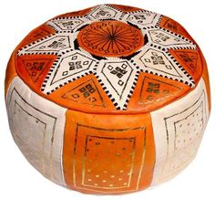 Orange Leather Moroccan Ottoman Footstool Pouf Dimentions when stuffed: Diameter: / 16 inch Height: / 7 inch Leather Poof, Leather Pouf Ottoman, Ottoman Footstool, Orange Leather, Ottomans, Moroccan Pouffe, Moroccan Leather Pouf, Orange Home Decor, Moroccan Theme
