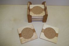 Beverage Wooden Coaster Set of Six with Holder Handcrafted From Maple and Cherry. $45.00, via Etsy.