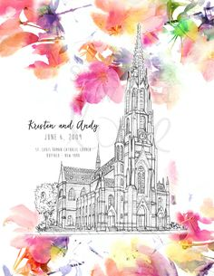 PERSONALIZED St. Louis Roman Catholic Church PRINTED - 8x10 Poster - Buffalo, New York Architecture - Pencil Drawing - Wedding by sealedwithlove on Etsy