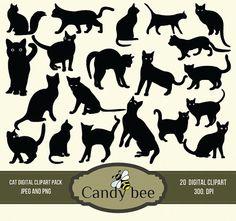 Digital Cat Silhouette Clip Art Black Kitty Silhouette Clipart Scrapbooking - Instant Download SAJ-706