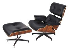 Mid Century Lounge Chair and Ottoman Black Palisander Leather $850 Houzz