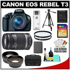 Canon EOS Rebel T3 Digital SLR Camera Body & EF-S 18-55mm IS II Lens with 55-250mm IS Lens + 16GB Card + .45x Wide Angle & 2x Telephoto Lenses + Battery + (2) Filters + Tripod + Accessory Kit by Canon. $619.95. Kit includes:♦ 1) Canon EOS Rebel T3 Digital SLR Camera Body & EF-S 18-55mm IS II Lens♦ 2) Canon EF-S 55-250mm IS Zoom Lens♦ 3) Transcend 16GB SecureDigital Class 10 (SDHC) Card♦ 4) PD .45x Digital Wide Angle Macro Lens (58mm Black)♦ 5) PD 2x Digital Telephoto...