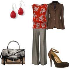 Brown and red (Brick floral zip back top $12)