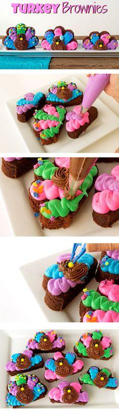Simple Turkey Brownies - The Bearfoot Baker