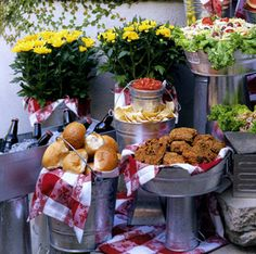 casual fall party with metal buckets used as serving pieces