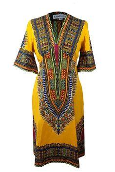 Kaftan Dress in Dashiki Print