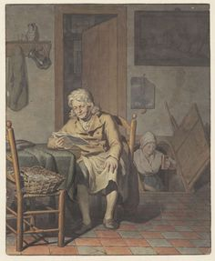Interieur met lezende man, Pieter Christoffel Wonder (Utrecht, 1780-1852 Amsterdam), 1790 - 1852