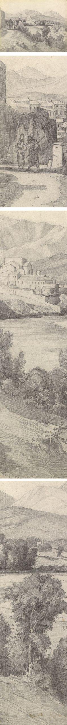 View of Benevento (Pencil), Edmund Kanoldt - Via Lines and Colors