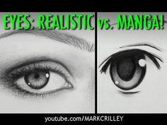 Drawing Time Lapse: Real Eyes vs. Manga Eyes - YouTube