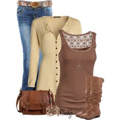 """""""Jeans, cardigan and boots"""" by cindycook10 on Polyvore"""