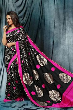 Black banarasi saree