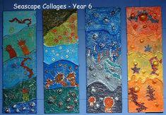 These are amazing! Ocean Artwork, Beach Artwork, Kensukes Kingdom, Australia Crafts, Ocean Deep, John Piper, Edward Hopper, Year 6, Egyptians