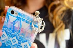 blue phone case with anchor