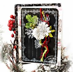 This is a Christmas card made with the Prima Marketing chalkboard note cards.