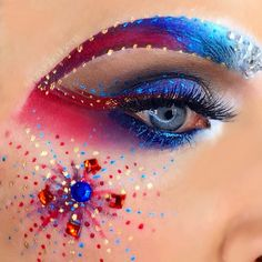 July 4th - Red White and Blue Fireworks Makeup - Follow @crystalhoytbeauty on Instagram & Youtube
