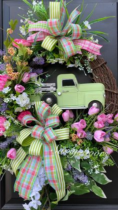Home of the original truck wreaths for every season. Don't see the one you were looking for? Reach out to us. Spring Wreaths For Front Door Diy, Diy Spring Wreath, Wreath Crafts, Diy Wreath, Wreath Ideas, Grapevine Wreath, Diy Crafts, Easter Wreaths, Holiday Wreaths