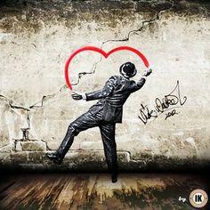 http://meriamber.tumblr.com/ heart street art graffiti love man suit top hat banksy