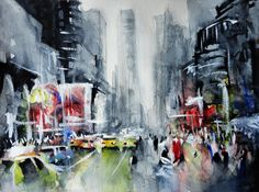 """Etsy. Original painting """"New York New York"""". Watercolor and acrylic on paper. By Nicolas Jolly"""