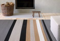 Design Ritva Puotila The multi-coloured stripes of the Horizon carpet are placed asymmetrically on the background. Striped Carpets, Carpet, Patterned Carpet, Interior Deco, Rugs, Striped Rug, Style Carpet, Soft Rug, Rug Design