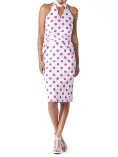 Turn heads at your next affair in this structured White with pink polka dot  halter dress 7ed980ba781a