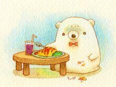 Cute Little Drawings, Cute Animal Drawings, Easy Drawings, Kawaii Illustration, Character Illustration, Art Kawaii, Creative Arts And Crafts, Bear Art, Cute Bears