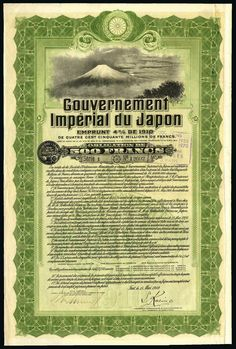 Imperial Japanese Government, 4% Loan, 1910, bond for 500 francs, no.12602