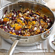 This warm emmer farro  salad with Butternut Squash and Hazelnuts would be perfect on a cold autumn day! http://www.bluebirdgrainfarms.com/product/organic-whole-grain-emmer-farro/ #bluebirdgrainfarms #emmerfarro