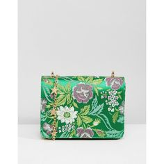 ASOS Mini Chinoiserie Cross Body with Star Strap (€32) ❤ liked on Polyvore featuring bags, handbags, shoulder bags, green, mini crossbody purse, floral handbags, mini purse, mini cross body purse and mini crossbody handbags