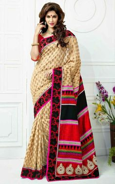 CREAM & RED BANARASI LATEST SAREE - SKY 1008