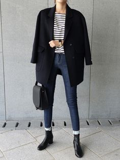 classy outfit, striped shirt and coat