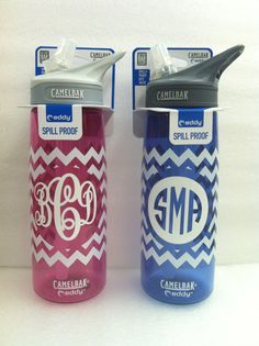 Camelbak monogrammed chevron water bottle - @Mary Powers Powers Powers Beth Wadford you should totally do this!!