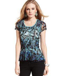 Style Top, Cap-Sleeve Lace Peplum - Tops - Women - Macy's