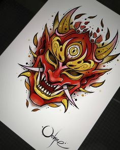 No photo description available. Tattoo Design Drawings, Tattoo Sketches, Art Sketches, Hannya Mask Tattoo, Hanya Tattoo, Japanese Mask Tattoo, Japanese Tattoo Designs, Anime Tattoos, Body Art Tattoos