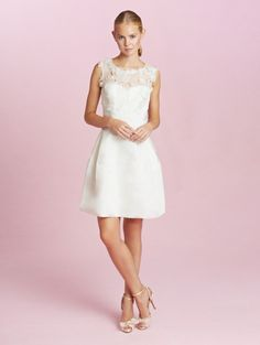 Oscar de la Renta - Short wedding dress  http://www.oscardelarenta.com/bridal/shop/catherine-embroidered-silk-faille-dress
