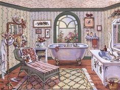 """Antique Bath"" by Erin Dertner #victorianbath #clawfoot"