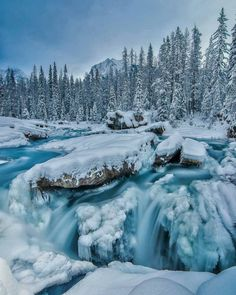 ***The big freeze: Icy cold glacial waters of the Kicking Horse River at the Natural Bridge (Yoho National Park, BC) by Mark Jinks (@markjinksphoto) on Instagram ❄️c.