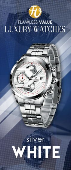 8e41355ed8e CADISEN CM90 Luxury Sport Stainless Steel Waterproof Wristwatch- Silver  Black Limited Edition stainless steel band