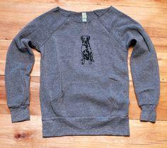 Lab Sweatshirt Dog by nicandthenewfie Grey Shirt, Grey Sweatshirt, Printed Sweatshirts, Printed Shirts, Hoodies, Labrador Retriever, Off Shoulder Shirt, Dog Mom Gifts, Loose Shirts