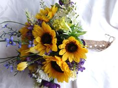Sunflower wedding Country wedding Sunflower and lilac Bouquet set twine wrap shabby chic bouquet. $104.00, via Etsy.