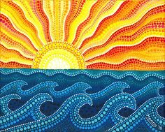 "waves dot painting by T.""alt=""Summer waves do""/></br></br>Summer waves dot painting by TreasureRocks on Etsy</br> Aboriginal Dot Painting, Dot Art Painting, Mandala Painting, Painting Canvas, Aboriginal Art For Kids, Encaustic Painting, Mandala Dots, Mandala Design, Kunst Der Aborigines"