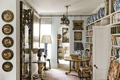 Robert Kime's drawing room / library     http://tmagazine.blogs.nytimes.com/2014/11/12/robert-kime-interior-decorator-docker-nook-home/?ref=design