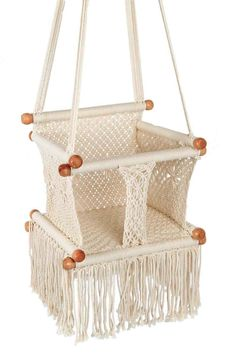 Baby swings swing chairs and eco friendly on pinterest for Diy macrame baby swing