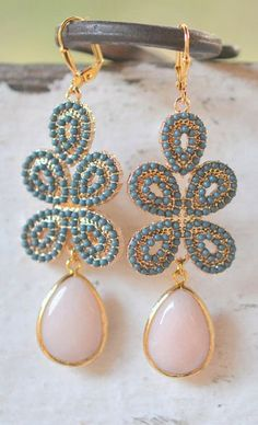 Peachy Pink and Dark Turquoise Statement Earrings in Gold
