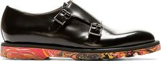 Paul Smith Black Leather Monk Strap Shoes