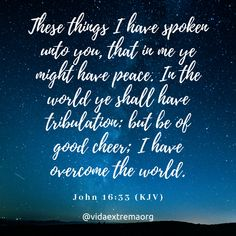 These things I have spoken unto you, that in me ye might have peace. In the world ye shall have tribulation: but be of good cheer; I have overcome the world. Christian Images, Christian Quotes, Overcome The World, I Have Spoken, Take Heart, A Child Is Born, Good Cheer, Might Have, Grief