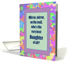 Daughter Birthday Colorful Butterfly Frame with Mirror card