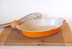 Vintage Le Creuset Enameled Cast Iron Yellow Au Gratin Baking Dish by cocoskitchen, $25.00