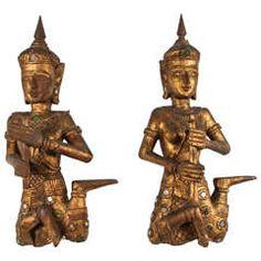 Pair of Thai Figures of Siamese Musicians