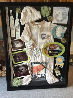 Baby shadow box...first outfit, hospital bands, all ultrasound pics, pregnancy test, shower invite, pregnancy announcement, pic of baby - Great memory idea!